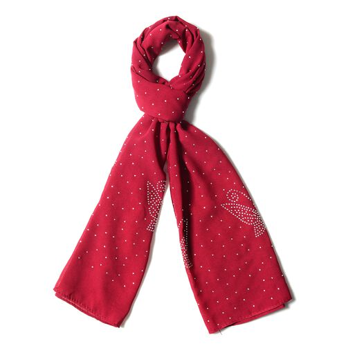 Red Colour Butterfly Pattern Scarf with Crystal Embellishment (Size 157x50 Cm)