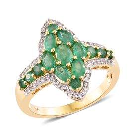 2.75 Ct Zambian Emerald and Cambodian Zircon Cluster Ring in 9K Gold 4.79 Grams