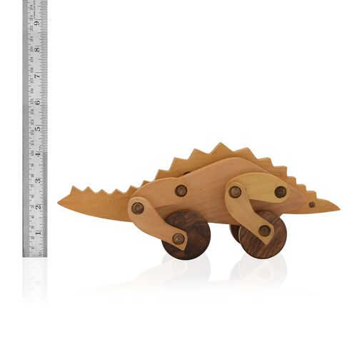 (Option 2) Home Decor - Wooden Handcrafted Dinosaur Shape Toy (Size 30x10 Cm)