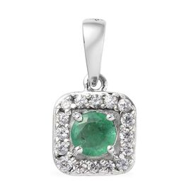 9K White Gold AA Brazilian Emerald (Rnd), Natural Cambodian Zircon Pendant 0.65 Ct.