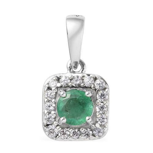 9K White Gold AA Brazilian Emerald (Rnd), Natural Cambodian Zircon Pendant 0.65 Ct.