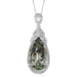 Green Amethyst  (Pear 12.00 Ct), Natural White Cambodian Zircon Pendant with Chain (Size 18) in Plat