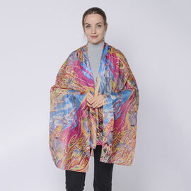 LA MAREY 100% Mulberry Silk Ocean Pattern Womens Scarf (Size:175x110Cm) - Orange, Pink and Multi