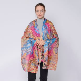 LA MAREY Mulberry Silk Printed Scarf - Pink and Blue