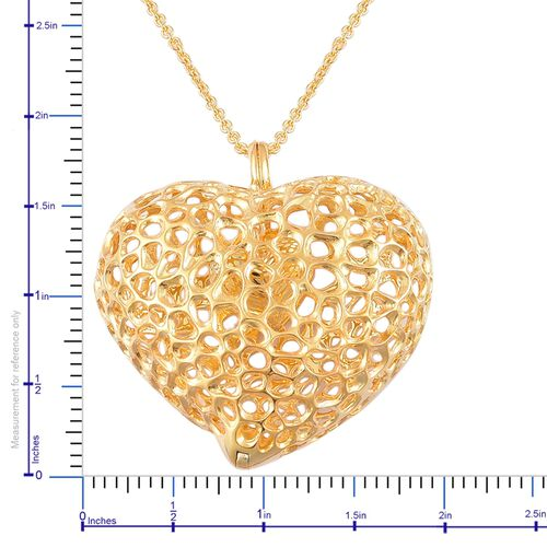 RACHEL GALLEY Yellow Gold Overlay Sterling Silver Amore Heart Pendant with Chain (Size 30), Silver wt 33.59 Gms.