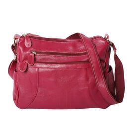 100% Genuine Leather Crossbody Bag with Multiple Pockets and Zipper Closure (Size 31x13x24 Cm) - Plu