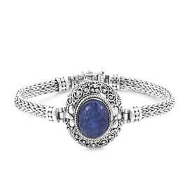 Royal Bali Collection 20 Ct Tanzanite Tulang Naga Chain Bracelet in Silver 33 Grams 7.5 Inch