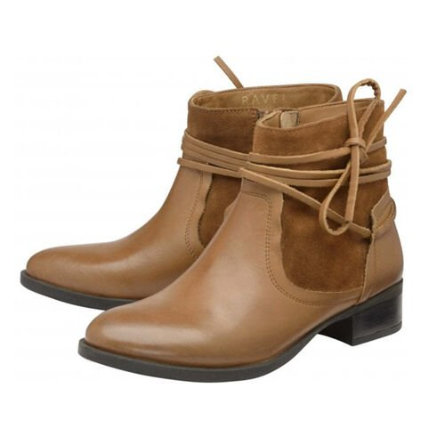 Ravel Marshall Leather Ankle Boots with Suede Details (Size 6) - Tan