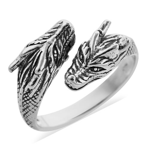Royal Bali Dragon Bypass Ring in Sterling Silver 5.32 Grams