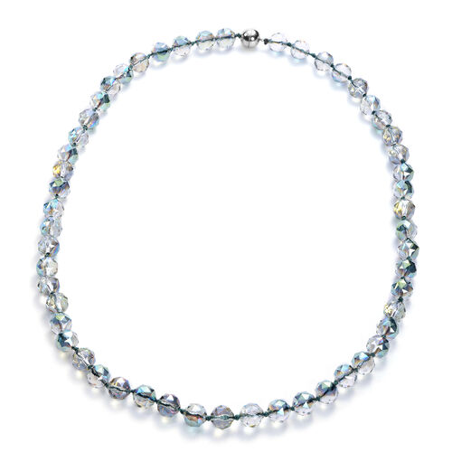 Simulated White Crystal Beaded Neckalce with Magnetic Lock in Stainless Steel