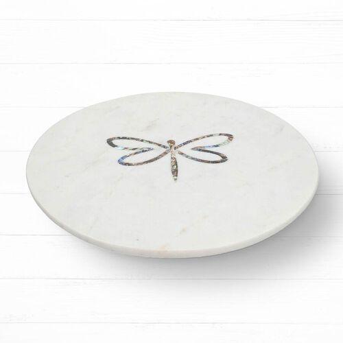 NAKKASHI - Round Marble Lazy Susan Tray with Abalone Inlay Dragonfly Motif