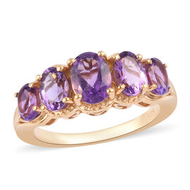 Amethyst Five Stone Ring in 14K Gold Overlay Sterling Silver 2.34 Ct.