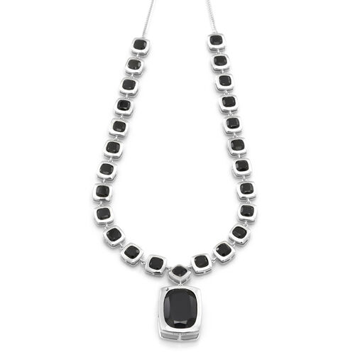 Boi Ploi Black Spinel (Cush 21.75 Ct) Necklace (Size 20) in Rhodium Plated Sterling Silver 53.000 Ct.