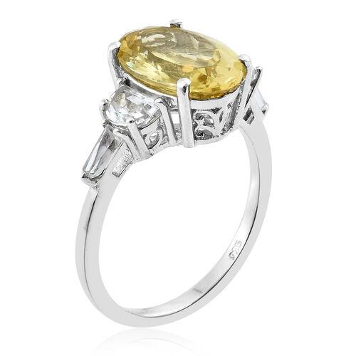 Extremely Rare Size Madagascar Yellow Apatite (Ovl 6.50 Ct), White Topaz Ring in Platinum Overlay Sterling Silver 8.000 Ct.