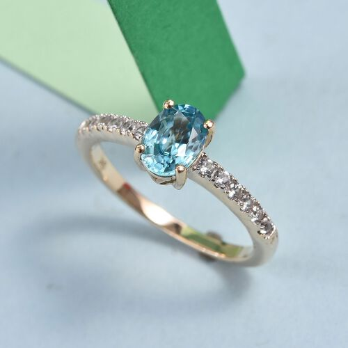 9K Yellow Gold AA Ratanakiri Blue Zircon (Ovl 7x5mm), Natural Cambodian Zircon Ring 1.45 Ct.