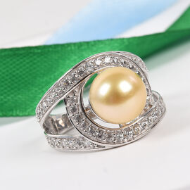 South Sea Pearl and Natural Cambodian Zircon Ring in Platinum Overlay Sterling Silver