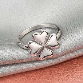 RACHEL GALLEY Platinum Overlay Sterling Silver 4-Leaf Clover Ring