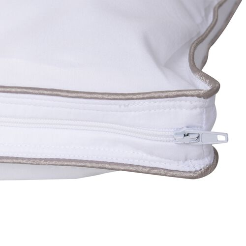 Set of 2 - Superfine Microfibre Pillow Cases Filled with Faux Down and Finished with Satin Gold and Silver Piping (50x75 cm)