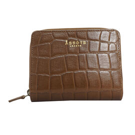 Assots London Croc Embossed Leather Zip Purse (Size 12x10cm) - Tan