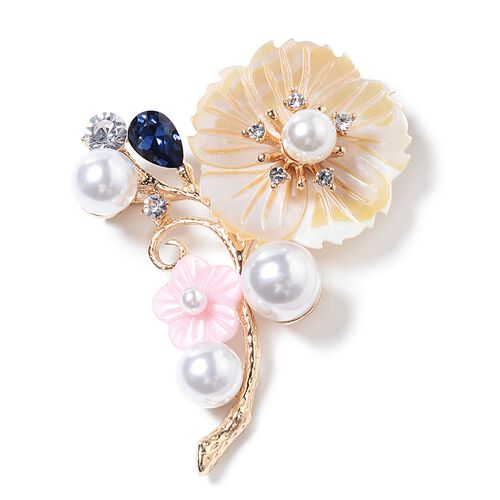 Simulated Pearl (Rnd), Natural Colour Shell, White Austrian Crystal, and Simulated Blue Sapphire Flower Bouquet Brooch in Yellow Plated