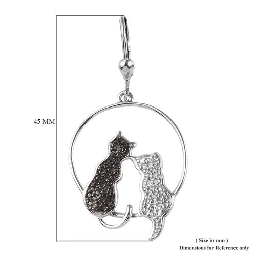 Black Diamond (Rnd) Twin Cat Lever Back Earrings in Platinum Overlay Sterling Silver, Silver wt 5.08 Gms