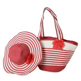 Red and White Colour Flower Adorned Stripe Pattern Tote Bag (Size 47x30x20x13 Cm) and Hat (Size 29x2