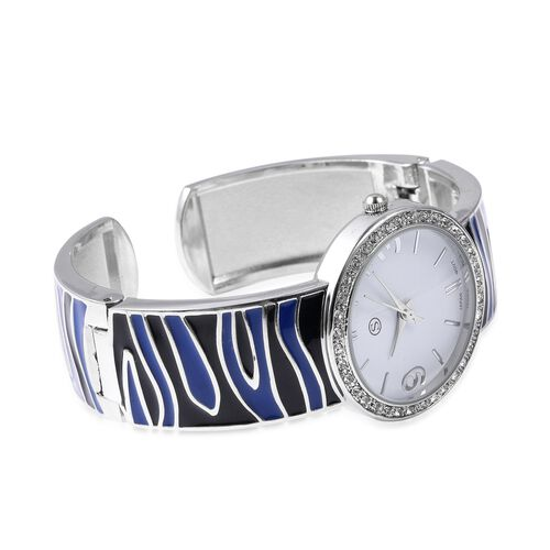 STRADA Japanese Movement White Austrian Crystal Studded Water Resistance Enamelled Cuff Bangle Watch (Size 6.5-7) in Stainless Steel - Black and Blue
