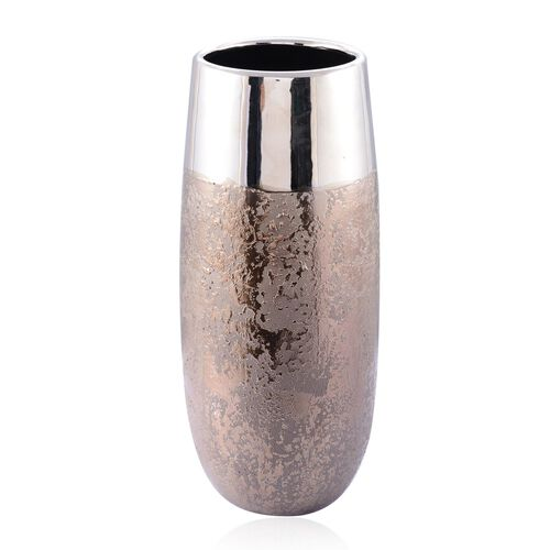 (Option 1) Metalic Brown and Silver Colour Stoneware Ceramic Flower Vase (Size 32 Cm)