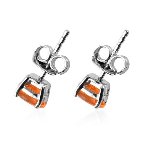 AA Jalisco Fire Opal Stud Earrings (with Push Back) in Platinum Overlay Sterling Silver 0.75 Ct.