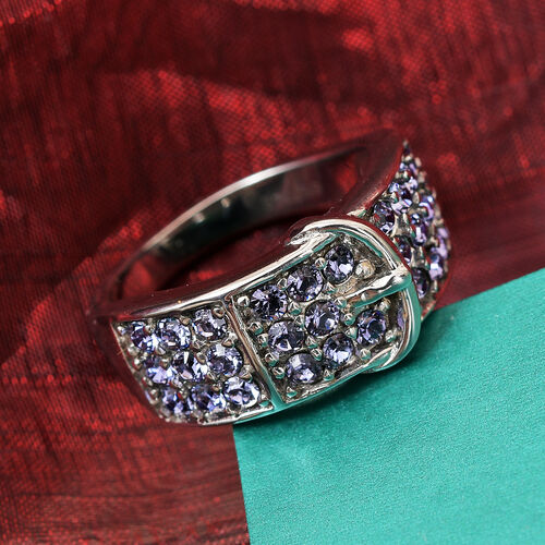 J Francis Crystal from Swarovski Tanzanite Colour Crystal Belt Buckle Ring in Stainless Steel