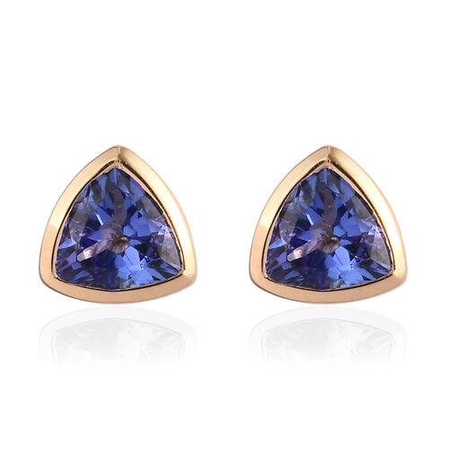 ILIANA 18K Yellow Gold AAA Tanzanite Solitaire Stud Earrings 1.00 Ct.