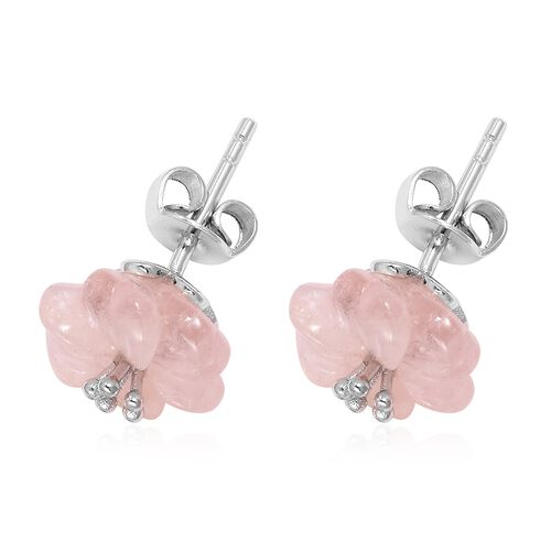 JARDIN COLLECTION - Hand Carved Flower  Morganite Stud Earrings (with Push Back) in Rhodium Overlay Sterling Silver 9.250 Ct.