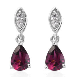 Rhodolite Garnet and Natural Cambodian Zircon Dangling Earrings (with Push Back) in Platinum Overlay