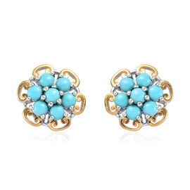 Arizona Sleeping Beauty Turquoise (Rnd) Floral Stud Earrings (with Push Back) in Platinum and Yellow