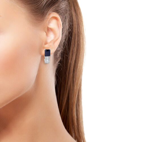 Designer Inspired-Rare Size  Kanchanaburi Blue Sapphire (Oct), White Topaz Earrings (with French Clip) in Rhodium Plated Sterling Silver 7.500 Ct.