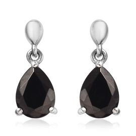 Elite Shungite (Pear 8x6mm) Drop Earrings (with Push Back) in Platinum Overlay Sterling Silver 1.33