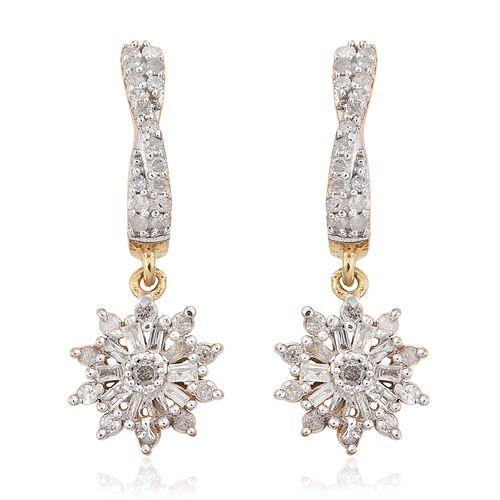 Designer Inspired-Diamond (Rnd) Earrings (with Push Back) in 14K Gold Overlay Sterling Silver 0.500