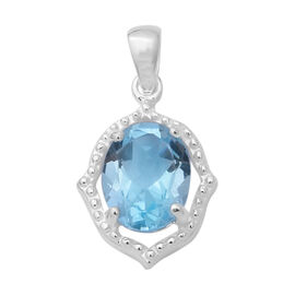 Sky Blue Topaz (Ovl 9x7 mm) Solitaire Pendant in Sterling Silver 2.200 Ct.