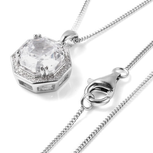 ELANZA Simulated Diamond Pendant with Chain (Size 18) in Sterling Silver 3.82 Ct, Silver wt 5.00 Gms