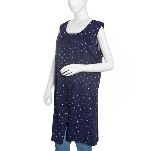 Navy Blue Polka Dots Straight Dress (Size Free)