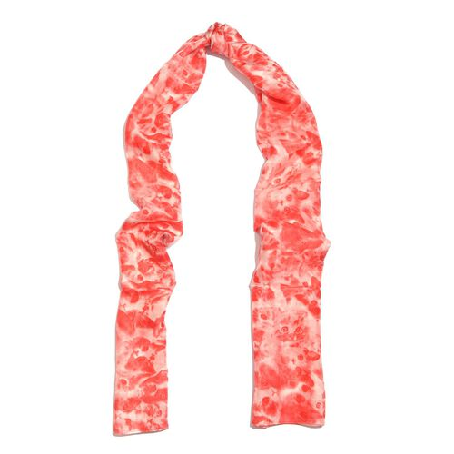100% Mulberry Silk Red and White Colour Handscreen Cat Face Printed Scarf (Size 180X50 Cm)