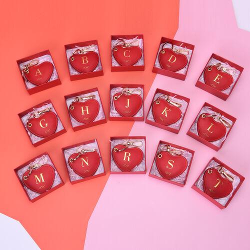 Christmas Edition 100% Genuine Leather Alphabet Red Heart Handbag Charm/Key Chain - J