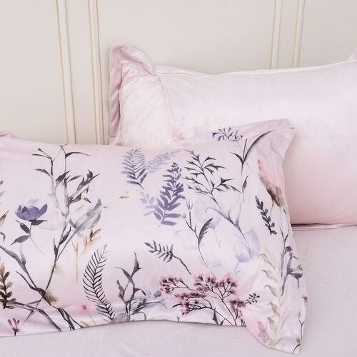 4 Piece Set - Soft and Warm Microflannel Luxury Duvet Set (1 Duvet, 1 Fitted Sheet KING Size and 2 Pillow Cases) with Floral Print - Ivory