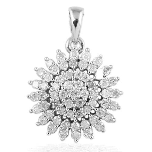 1 Carat Diamond SGL Certified (I3/G-H) Cluster Pendant in 9K White Gold