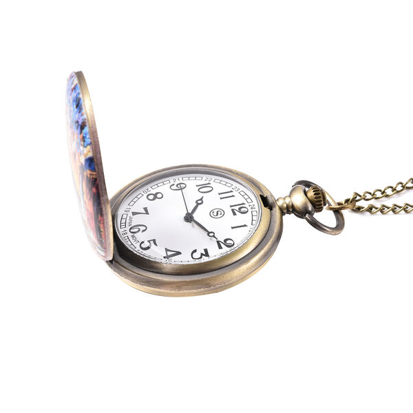 STRADA Japanese Movement Venice Pattern Pocket Watch with Chain (Size 31) in Antique Bronze Tone