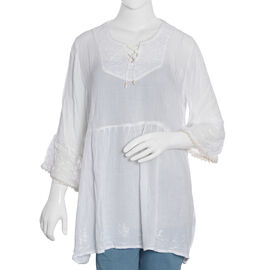 White Colour Top with Embroidery (Free Size)