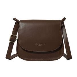 OTO - ASSOTS LONDON Nicola Genuine Croc Leather Fully Lined Saddle Bag - Off White