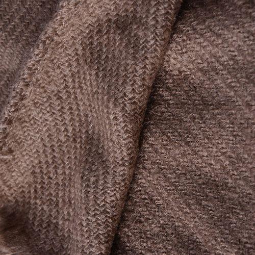 Chocolate Colour Plaid-Shawl with Pom Pom (Size 160x130 Cm)