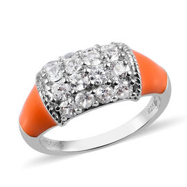 Sundays Child - Natural Cambodian Zircon Enamelled Ring in Platinum Overlay Sterling Silver 1.25 Ct.