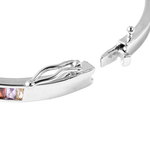 Simulated Rainbow Sapphire Nail Bangle (Size 7) in White Gold Tone
